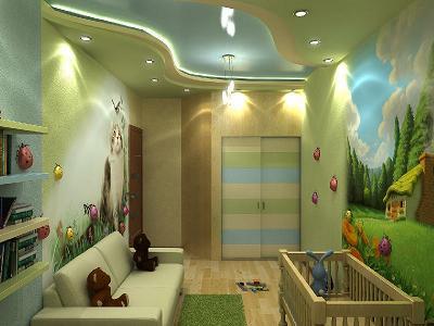 Потолок из гипсокартона в детской комнате (116 фото подвесной) 28