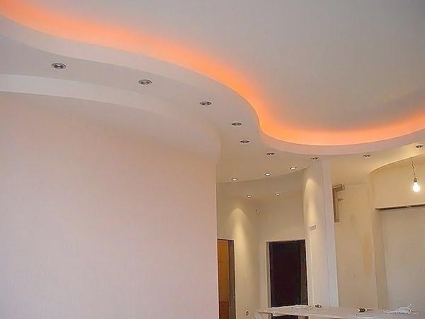 Навесные потолки из гипсокартона — фото и видео монтажа: http://potolokvdoma.ru/gipsokartonnye/navesnye-potolki-iz-gipsokartona/