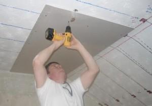 Укладка гипсокартона на потолок — как класть гипсокартонные листы?