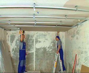 Фото: Установка гипсокартона на потолок