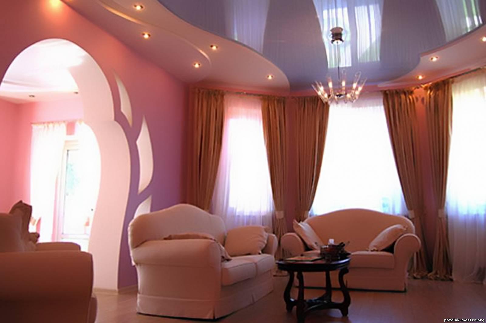Натяжные потолки для зала — неповторимый дизайн своими руками
