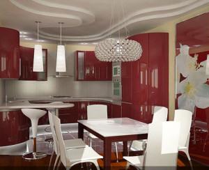Фото: Фото двухуровневых натяжных потолков для кухни