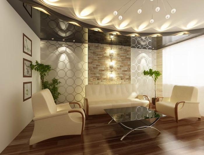 Фото: Фото натяжных потолков для гостиной