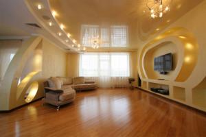 Двухуровневые натяжные потолки в гостиной — уютный дизайн своими руками