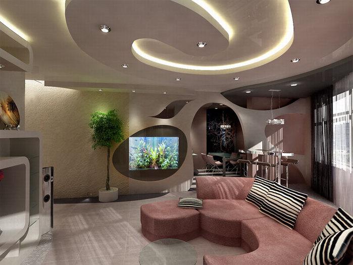 Потолки из гипсокартона — фото уникальных дизайнерских решений