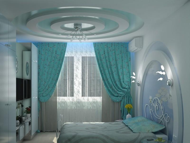 Фото: Оформление спальни французским потолком