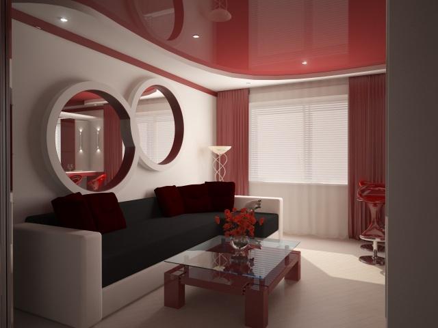 Фото: Бордовый потолок