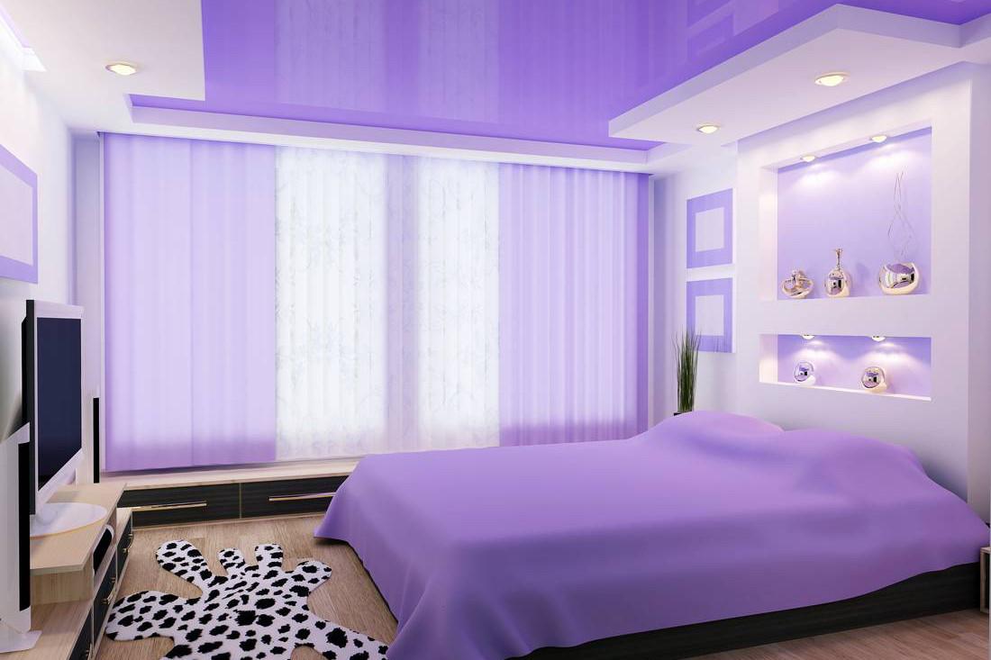 Сиреневый натяжной потолок — необычный вариант оформления помещения