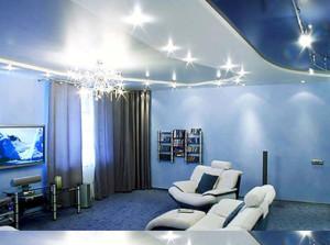 Фото: Расположение светильников на натяжном потолке