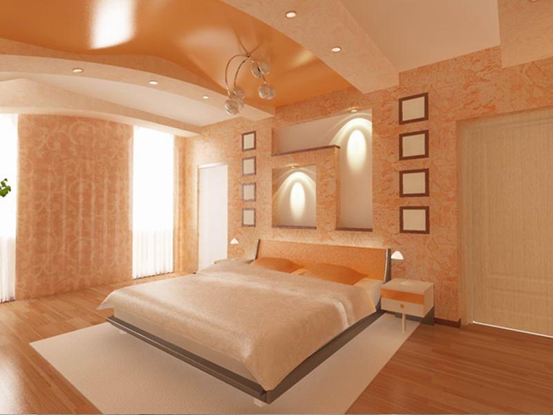 Фото: Спальня в оранжевых тонах