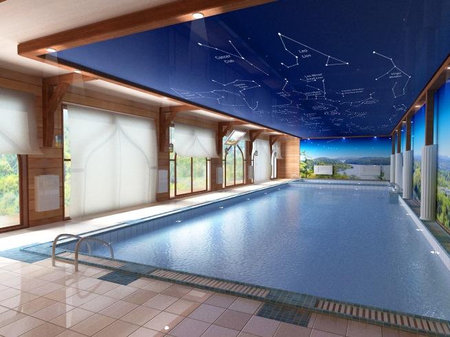 Натяжные потолки в бассейне — практичный и долговечный материал
