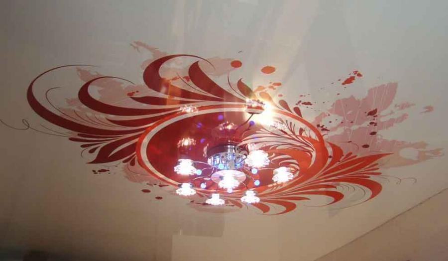фото натяжных потолков с рисунком