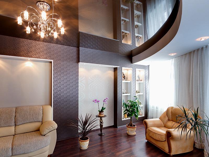 Фото: Двухуровневый потолок сложной формы