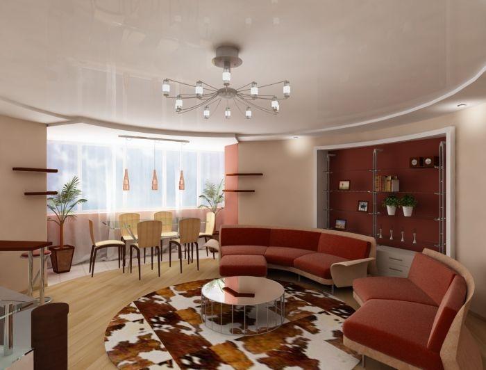 Фото: Цвет полотнища и размер круга нужно подбирать для каждого помещения