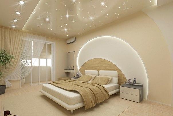 Подвесные потолки в спальне — дизайн спального помещения